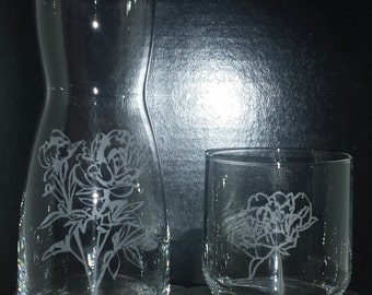 Peony Etched Carafe and Glass