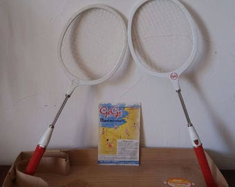 Rackets badminton Gégé years 50 in box original vintage