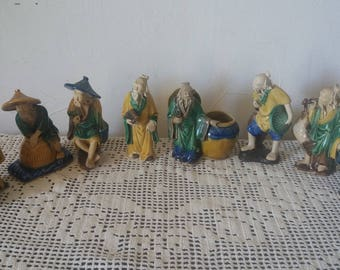 Statuettes figurines old Mudman China 1900 Shiwan ceramics