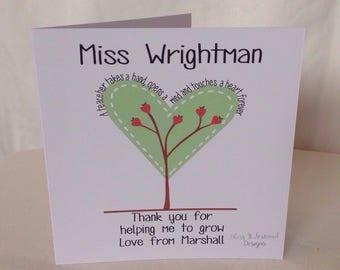 Teacher Card - Thank You card