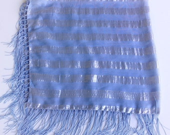 Powder Blue shawl, Blue Boho Fringe scarf, Blue Fringe Scarf, Striped Scarf, Birthday Gift for Coworker, Gift for Mother's Day to delivered