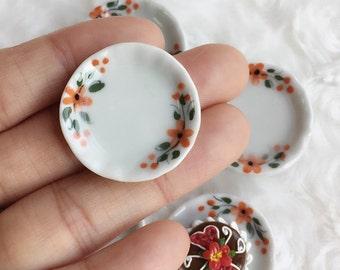 5Pcs Miniatue plate,mini ceramic plate,miniature food plate,Miniature tray,plate,dollhouse plate,dollhouse miniature Tray,Ceramic Plate,DIY