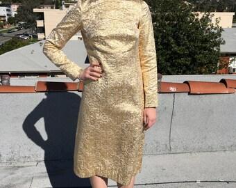 Vintage 60s Gold Brocade Dress ~ Sz M