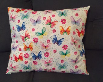 Multicolored Butterfies on Large Throw Pillow. Decorative Pillow with Butterflies.