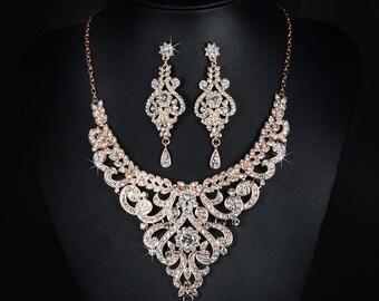 rose gold jewelry set bridal jewelry set wedding jewelry set bridal earring rose gold earrings rose gold necklace wedding jewellery bridal