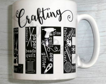 Unique Gift for Crafters 11oz Ceramic Mug for Sewers Knitters Crocheters Crafters Available Left Handed and Right Handed Can be Personalised