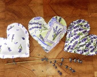 Heart Shaped Lavender Filled Sachet Trio