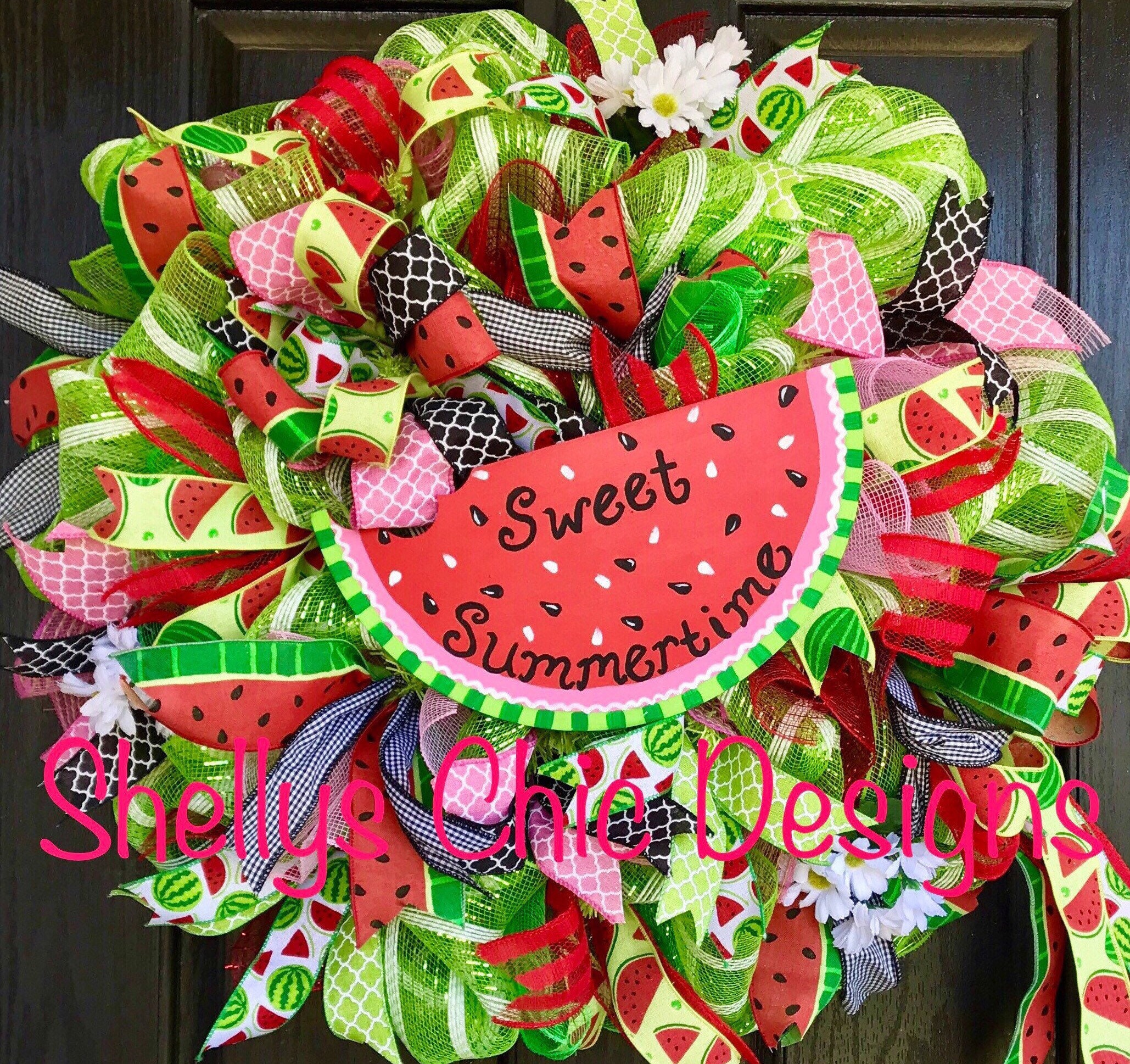 Summer wreath, Watermelon deco mesh wreath, Watermelon wreath, Summer deco mesh wreath, green and pink mesh wreath, Welcome mesh wreath,