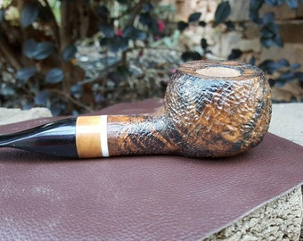 Sandblasted Apple tobacco pipe, Smoking pipe, Davis Pipe, Custom pipe, Handmade pipe