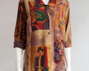 Jean Miro Long Blouse Button Up Womens Shirt Tunic ABSTRACT Patterned