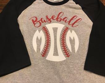 Baseball Mom or Baseball momogram raglan
