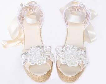 GRACE Peep Toe Platform Wedge Lace Up Espadrille Boho style Wedding