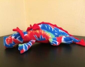 Tie Dye fleece stuffed dragon/dragon plush