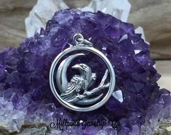 Raven and Moon Charm, Raven Pendant, Bird Charm, Flying Bird Charm, Bird Pendant, Sterling Silver Charm, Sterling Silver Pendant