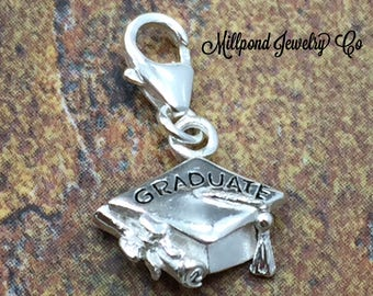 Graduation Cap Charm, Graduation Hat, Graduation Charm, Graduation Pendant, Sterling Silver Charm, PS42LC