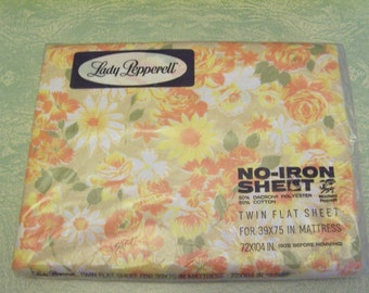 Vintage yellow orange spring floral Lady Pepperell twin flat no-iron sheet original package
