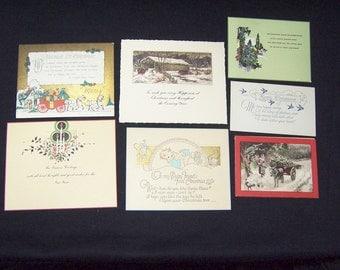 Seven vintage Art Deco Christmas greeting cards