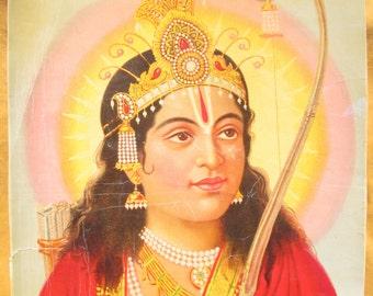 Lord Rama ... Antique Indian Hindu devotional poster print