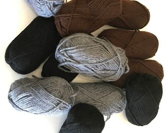 Yarn 12 skeins total Gray,Black,Brown 100% acrylic,65 yards each