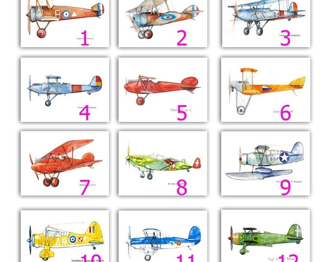 Airplanes decor ANY Two prints Military aircraft Make your own set Airplane painting Aviation art Retro avia Boy's nursery wall art