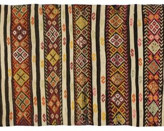 Boho Chic Vintage Turkish Kilim Rug with Stripes and Modern Tribal Style, Flat-woven Wool Kilim Rug - 2'5 x 3'9
