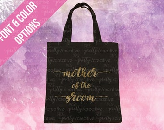 Mother of the Groom Black Soft Canvas Tote -  Silver or Gold Glitter Text
