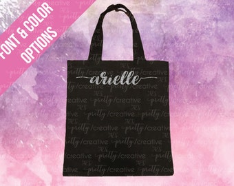 Small Name Black Soft Canvas Tote -  Silver or Gold Glitter Text