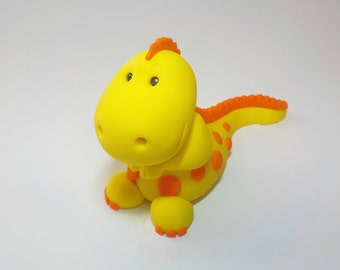 Baby T-Rex Dinosaur Fondant Cake Topper with Spots Spikes 1st Birthday Baby Shower Yellow Orange Custom Color