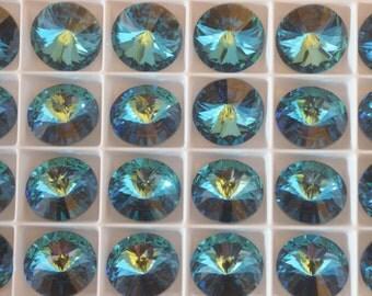 2 ~ Bermuda Blue 18mm 1122 Swarovski Elements crystal 1122 Crystal Rivolis