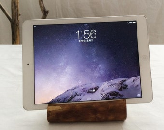 Log wood wooden tablet device Restoring ancient ways Of primitive simplicity natural ipad stand dock