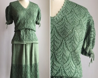 70s crochet skirt set M ~ vintage 70s does 40s sage green skirt and top