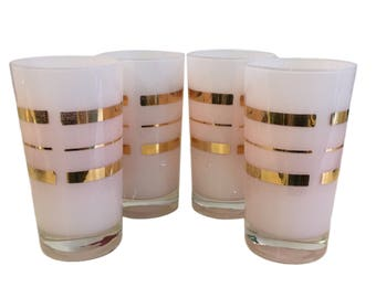 Vintage Pink and Gold Tumblers - Set of 4
