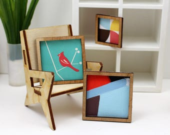 Set of 3 Miniature Artworks - Pops of Red Collection