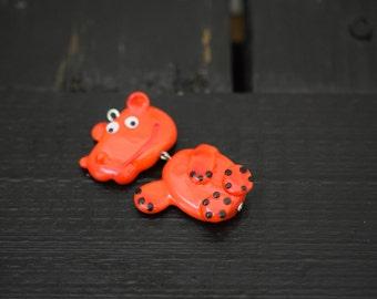 Artisan Handmade Lampwork Glass Hippo Pendant, 1pc