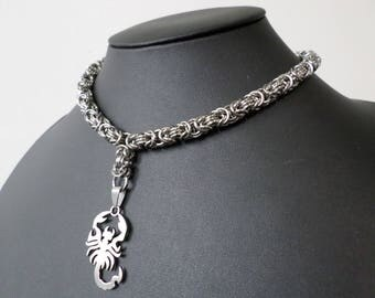Gothic Scorpion Choker Necklace - Stainless Steel Byzantine Chainmail Punk Jewelry