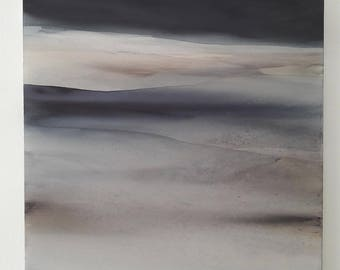 Large Abstract Landscape - Abstract Art, Watercolor Landscape / Panting on Canvas / Contemporary Art / Modern Painting / Lyrical Landscape