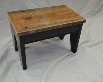 Barnwood Topped Foot Stool, Step Stool, Kids seat with lamp black base -- perfect vintage look with reclaimed materials