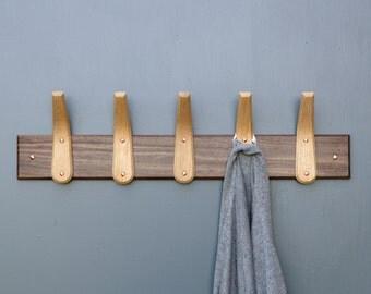Wood Coat Rack Handmade English Oak Coat Hooks with Walnut Backboard