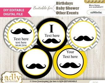 DIY Editable Yellow Mustache Cupcake Toppers Digital File, print at home favor tags birthday, baby shower, baptism Chevron - oz90bs0ac