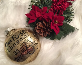 Personalized Christmas Ornament/First Year Married Ornament/Ornament with name/Est. Ornament/Mr and Mrs Ornament