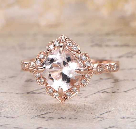 Limited Time Sale Antique 1 25 carat Morganite and Diamond