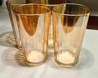 Vintage 1940s Jeannette Glass Dewdrop Marigold Carnival Iridescent optic Tumblers (Set of 5)