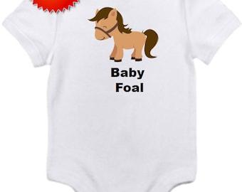 Baby Foal horse bodysuit onesie you pick size newborn / 0-3 / 3-6 / 12 / 18 / 24 month