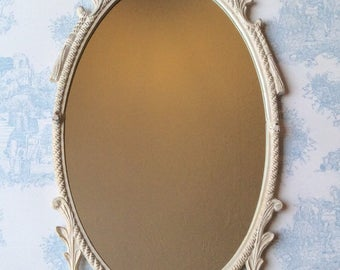 Refurbished Shabby Chic Ornate Oval Mirror - Distressed Annue Sloan Old Ochre Chalk Paint