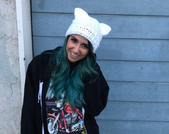 Cat Beanie - Pussy Hat - Crochet Beanie - Pussycat Hat -Womens Movement Hat - Pink Cat Hat - Pussy Cat Hat - Crochet Cat Hat - Warm Hat