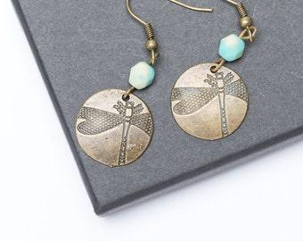 Bronze Dragonfly Earrings   Beaded Earrings   Charm Earrings   Dragonfly Jewellery