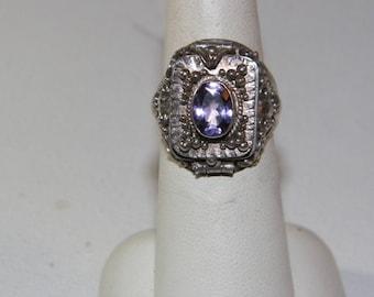 Vintage Sterling Silver Amethyst Poison Ring