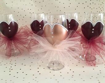 1 Bride and 4 Bridesmaid glasses- Bridesmaid Wine glasses, Hand Painted Bridal Wine Glasses, Wedding Party Wine Glasses, Bachelorette Party