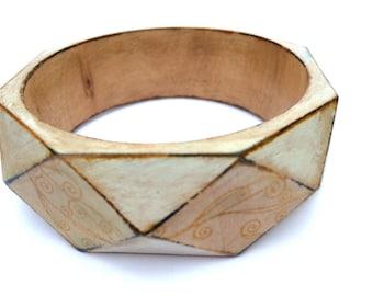 Vintage Wood Bracelet - Vintage Design - Geometric Bracelet - Geometric Jewelry