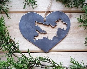 Love Lake Arrowhead California Steel Ornament CA Metal State Heart Christmas Tree Ornament Host Gift Wedding Favor By BE Creations